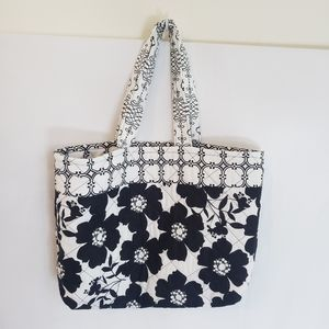 Hand made black white floral market reusable tote